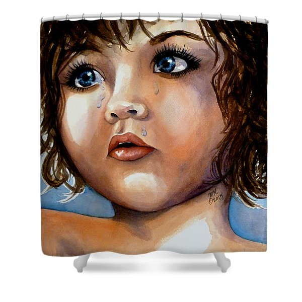 Crying Blue Eyes Shower Curtain
