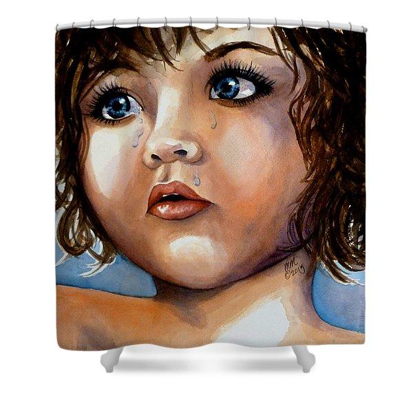 Crying Blue Eyes Shower Curtain