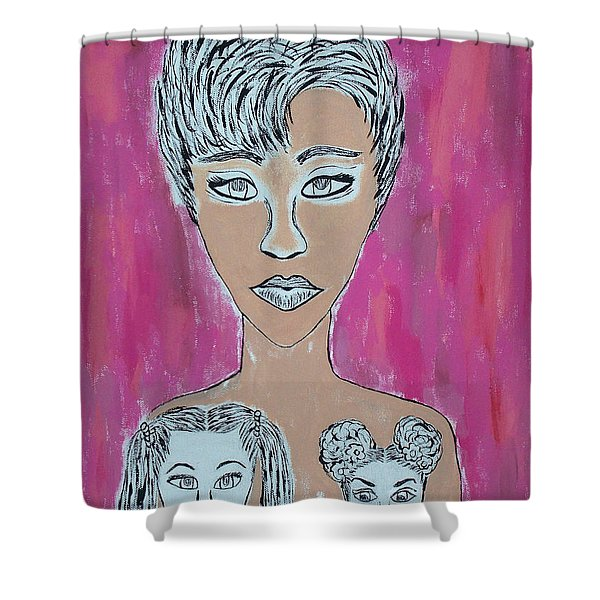 Mother And Daughters Painting And Drawing Shower Curtain
