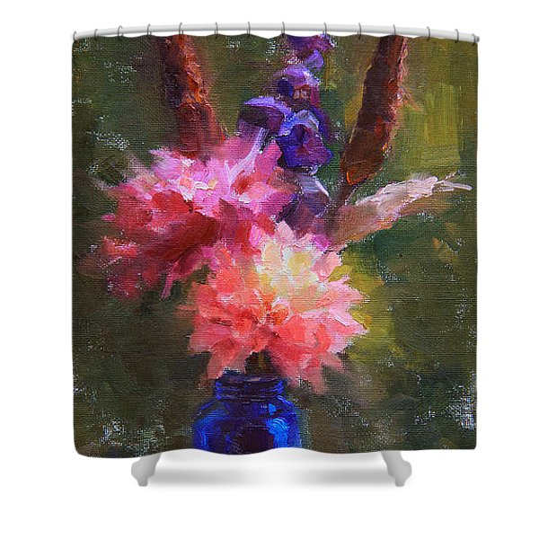 Market Melody - Dahlias And Cattails Shower Curtain