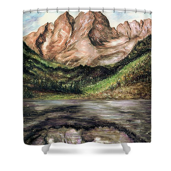 Maroon Bells Colorado - Landscape Painting Shower Curtain