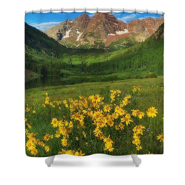 Maroon Summer Shower Curtain