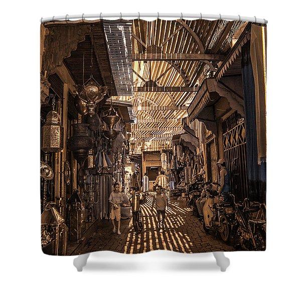 Marrakech Souk With Children Shower Curtain