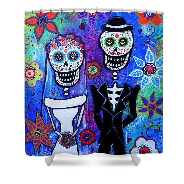 Married Couple Dia De Los Muertos Shower Curtain