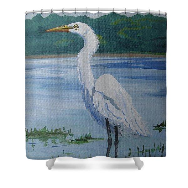 Marsh Land Egret Shower Curtain