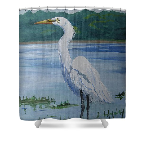 Marsh Land Egret Shower Curtain