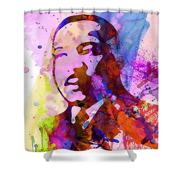 Martin Luther King Jr Watercolor Shower Curtain