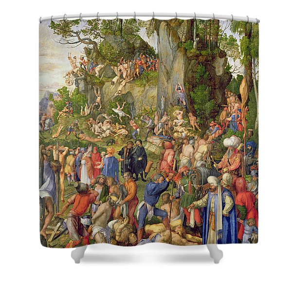 Martyrdom Of The Ten Thousand, 1508 Shower Curtain