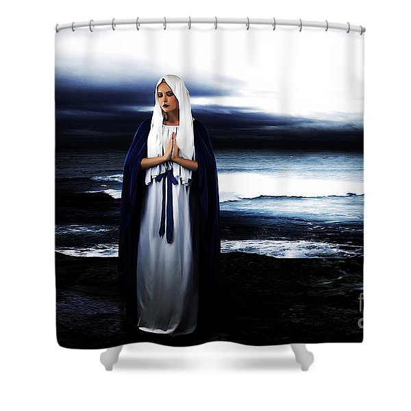 Mary By The Sea Shower Curtain