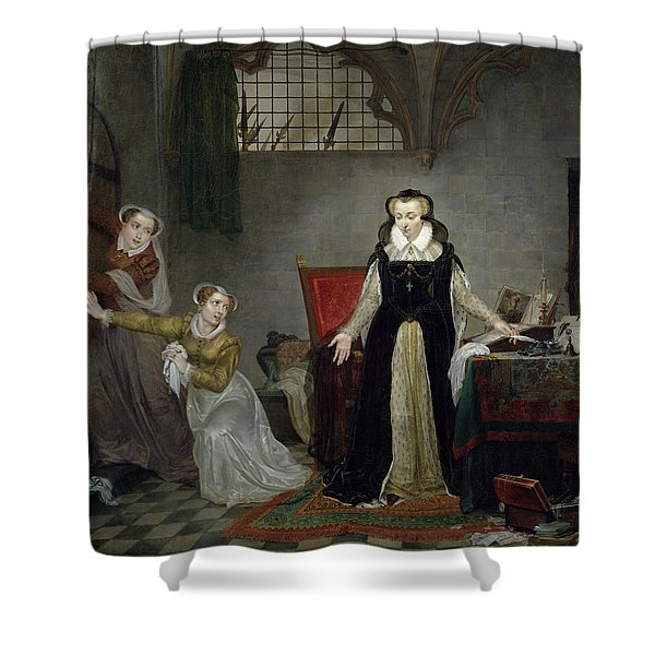 Mary Stuart 1542-87 At The Moment Of Leaving For Her Execution, 8th February 1587 Oil On Canvas Shower Curtain