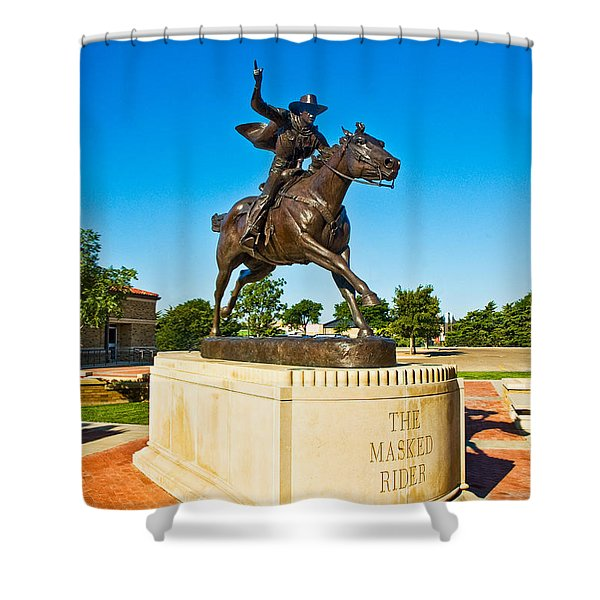 Shower Curtain featuring the photograph Masked Rider Statue by Mae Wertz