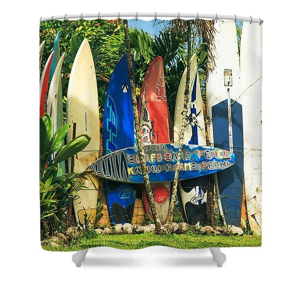 Maui Surfboard Fence - Peahi Hawaii Shower Curtain