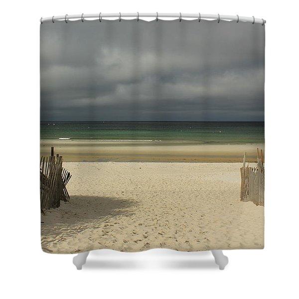 Mayflower Beach Storm Shower Curtain
