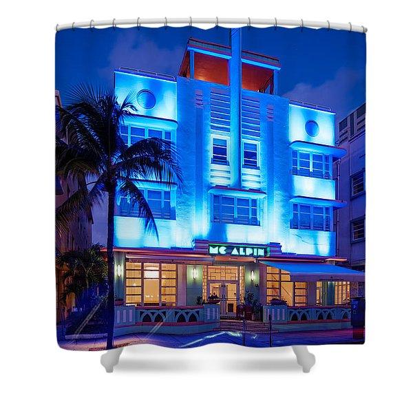 Mcalpin Hotel At Dawn Art Deco- South Beach Miami Beach Florida Shower Curtain