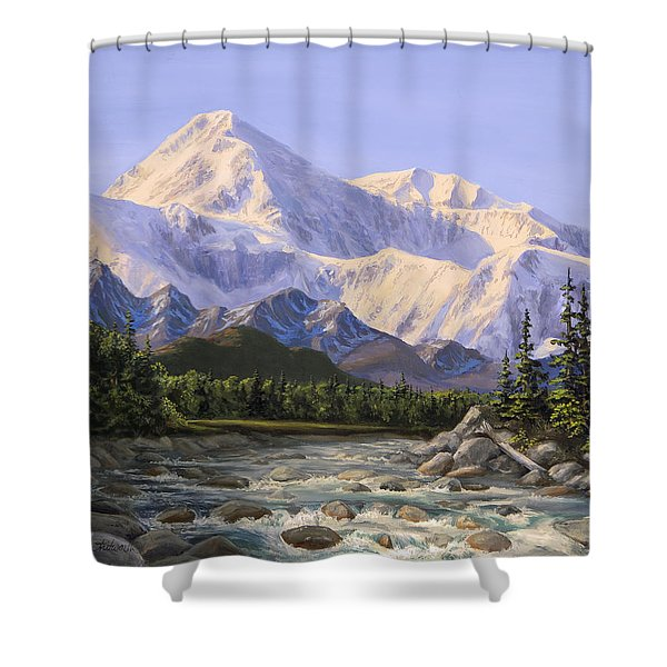 Majestic Denali Mountain Landscape - Alaska Painting - Mountains And River - Wilderness Decor Shower Curtain