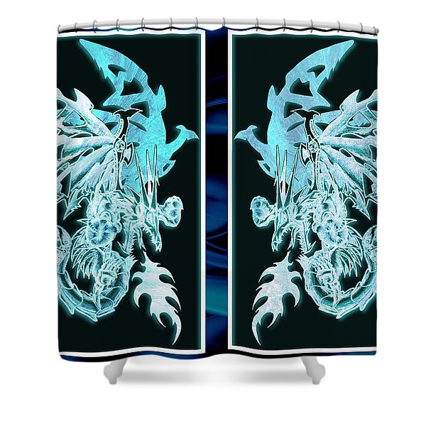 Mech Dragons Diamond Ice Crystals Shower Curtain