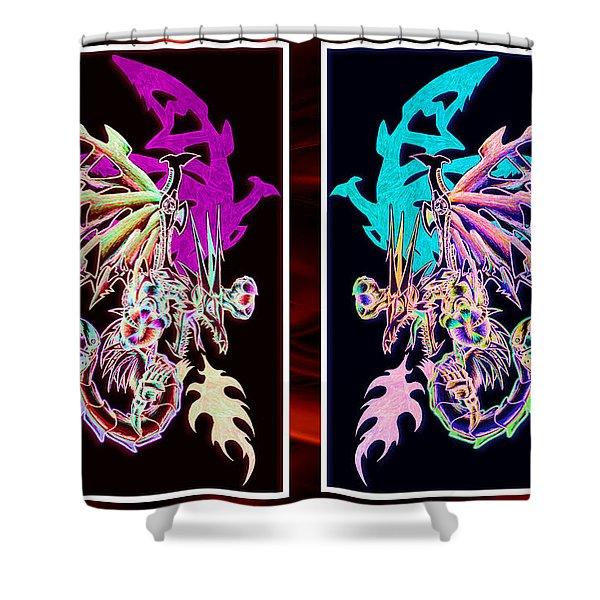 Mech Dragons Pastel Shower Curtain