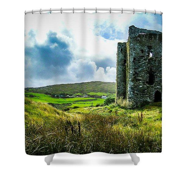 Medieval Dunmanus Castle On Ireland's Mizen Peninsula Shower Curtain