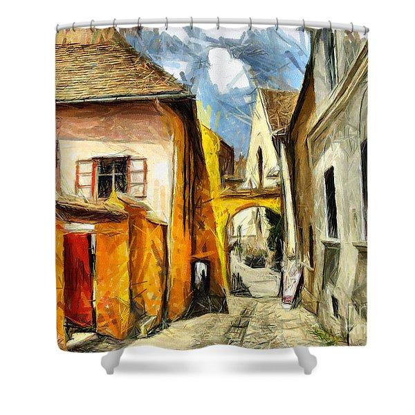 Medieval Street In Sighisoara Transylvania Romania - Painting Shower Curtain