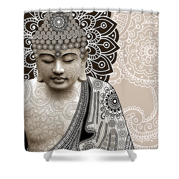 Meditation Mehndi - Paisley Buddha Artwork - Copyrighted Shower Curtain