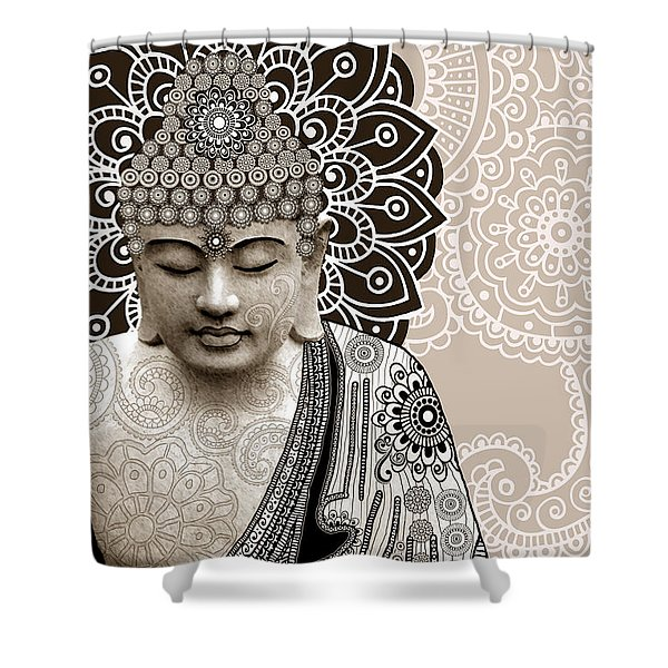 Meditation Mehndi - Paisley Buddha Artwork - Copyrighted Shower Curtain