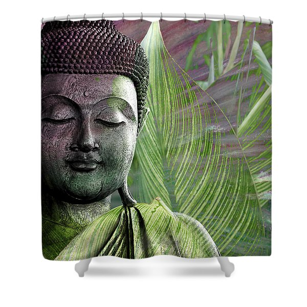 Shower Curtain featuring the mixed media Meditation Vegetation by Christopher Beikmann