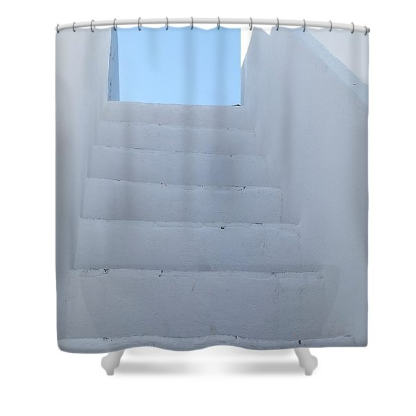Mediterranean Staircase Shower Curtain