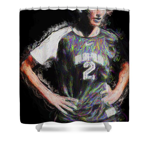Megan Hock Iupui Painted Digitally Soccer Futbol Shower Curtain