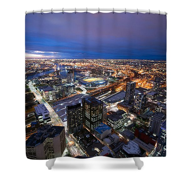 Melbourne At Night Shower Curtain