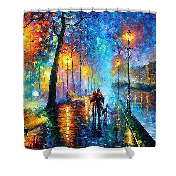 Melody Of The Night - Palette Knife Landscape Oil Painting On Canvas By Leonid Afremov Shower Curtain