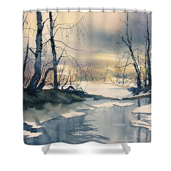Melt Water On Skipwith Common Shower Curtain