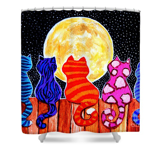 Meowing At Midnight Shower Curtain