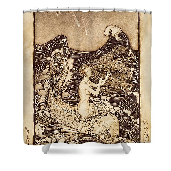 Mermaid And Dolphin From A Midsummer Nights Dream Shower Curtain