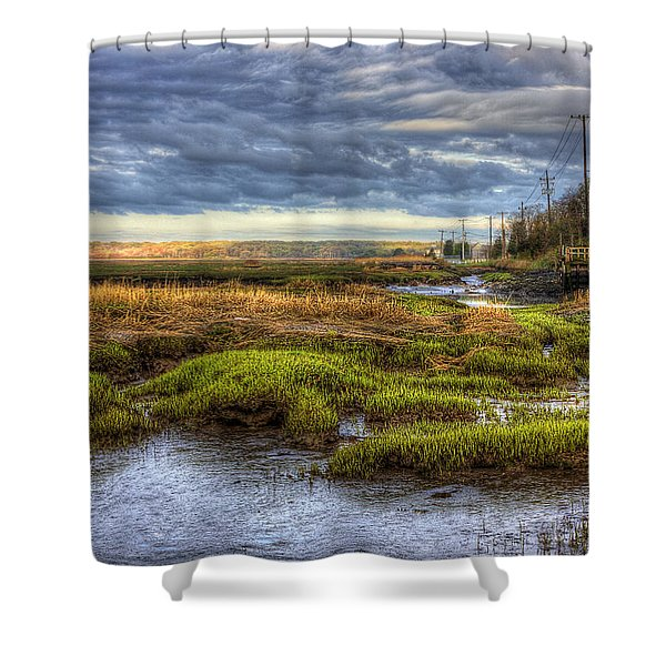 Merrimack River Marsh Shower Curtain