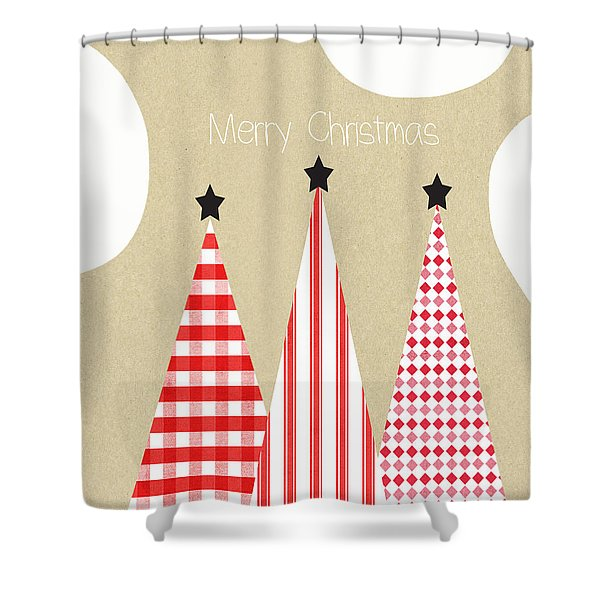 Merry Christmas With Red And White Trees Shower Curtain