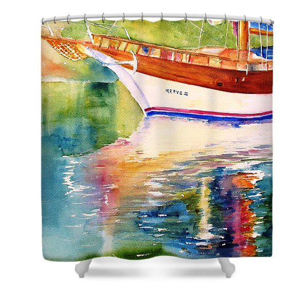 Merve II Gulet Yacht Reflections Shower Curtain