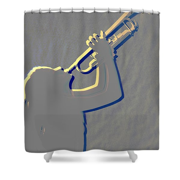 Metal Print Of Trumpet Music Instrument And Girl 3016.04 Shower Curtain