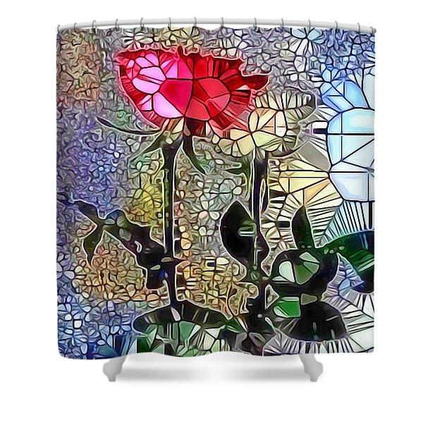 Metalic Rose Shower Curtain
