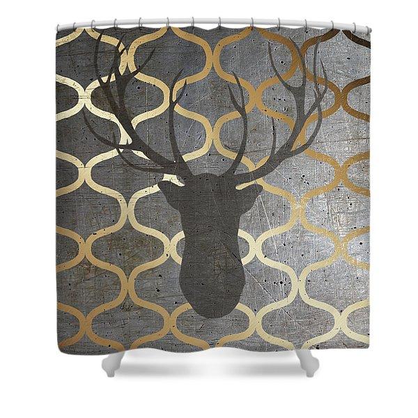 Metallic Deer Nature Shower Curtain
