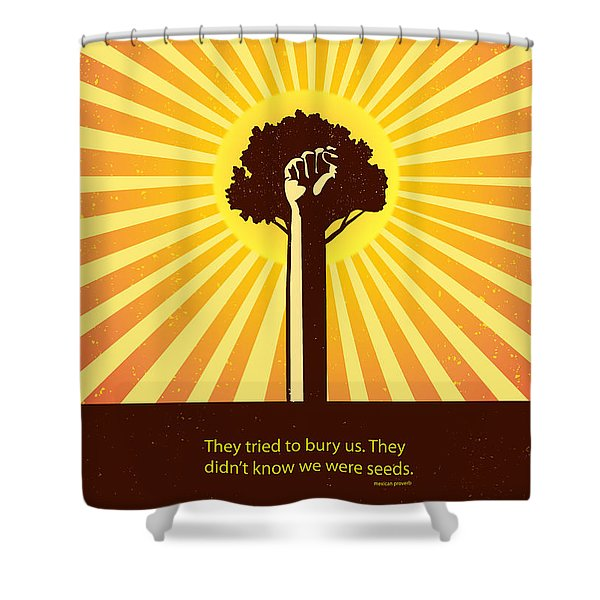 Shower Curtain featuring the painting Mexican Proverb Minimalist Poster by Sassan Filsoof