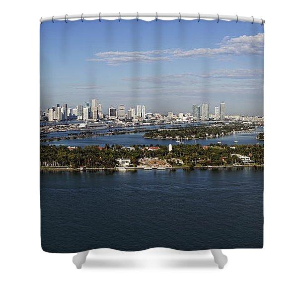 Miami And Star Island Skyline Shower Curtain