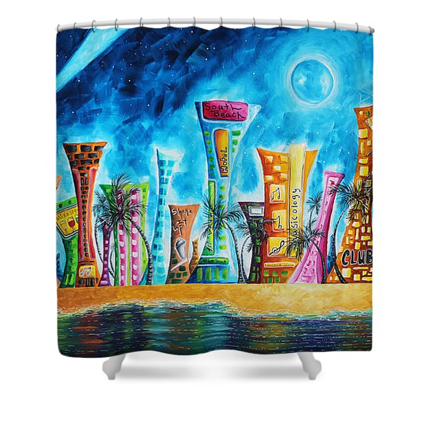 Miami City South Beach Original Painting Tropical Cityscape Art Miami Night Life By Madart Absolut X Shower Curtain