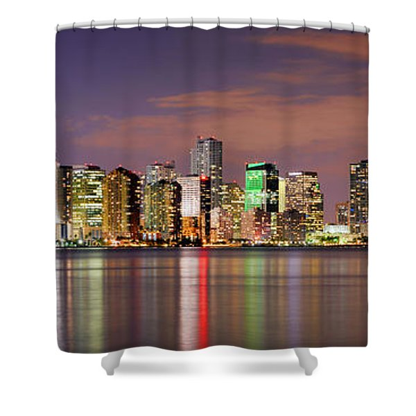 Miami Skyline At Dusk Sunset Panorama Shower Curtain