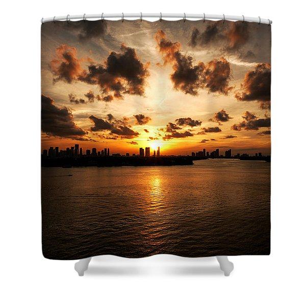 Miami Skyline Sunset Shower Curtain