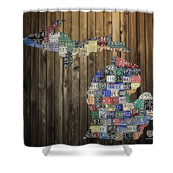 Michigan Counties State License Plate Map Shower Curtain