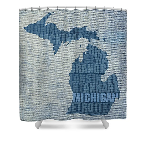 Michigan Great Lake State Word Art On Canvas Shower Curtain