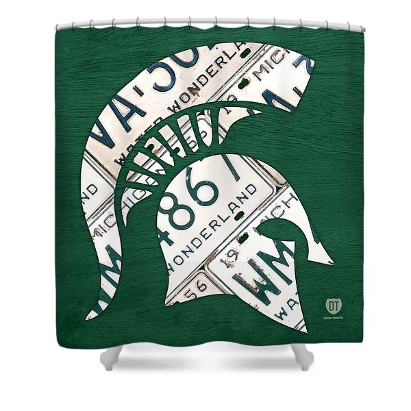 Michigan State Spartans Sports Retro Logo License Plate Fan Art Shower Curtain