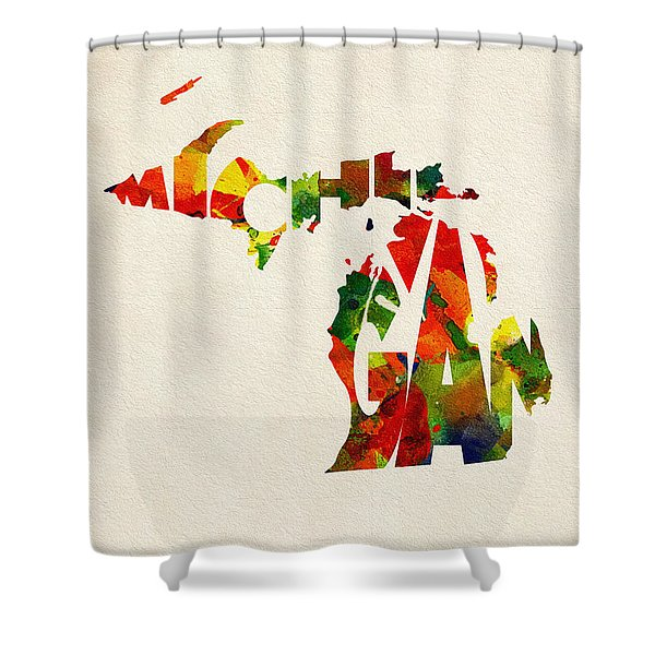 Michigan Typographic Watercolor Map Shower Curtain