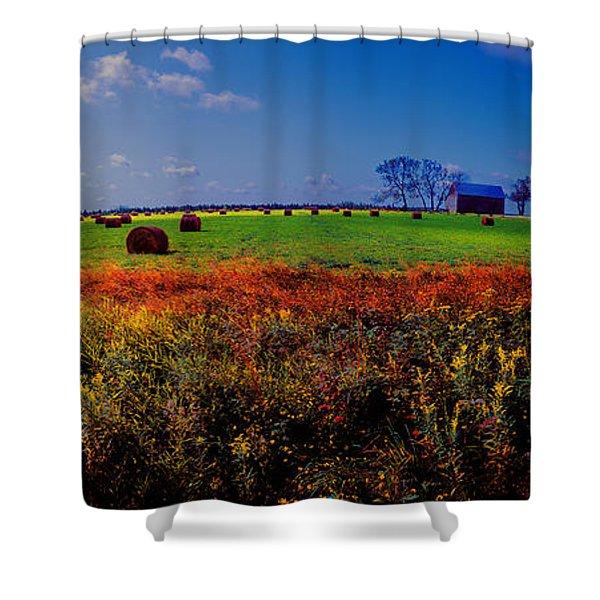 Michigan Uper  Farm Barn And Rolls Of Hay Brimly Michigan Shower Curtain