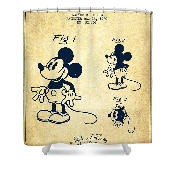 Mickey Mouse Patent Drawing From 1930 - Vintage Shower Curtain